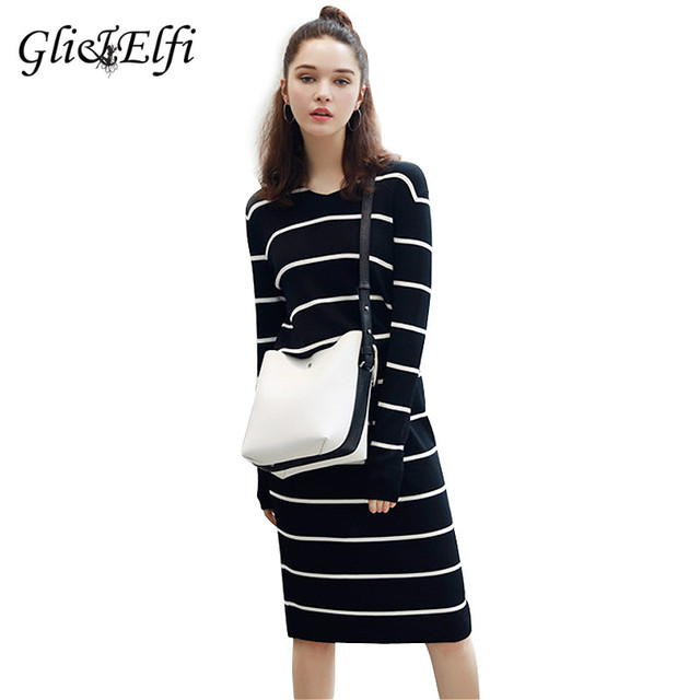 Autumn Winter Sweater Knitted Women Dress Korean Office Striped Midi Pencil  Vestido Bandage Plus Size Long Sleeve Bodycon Dress de8330d0f809