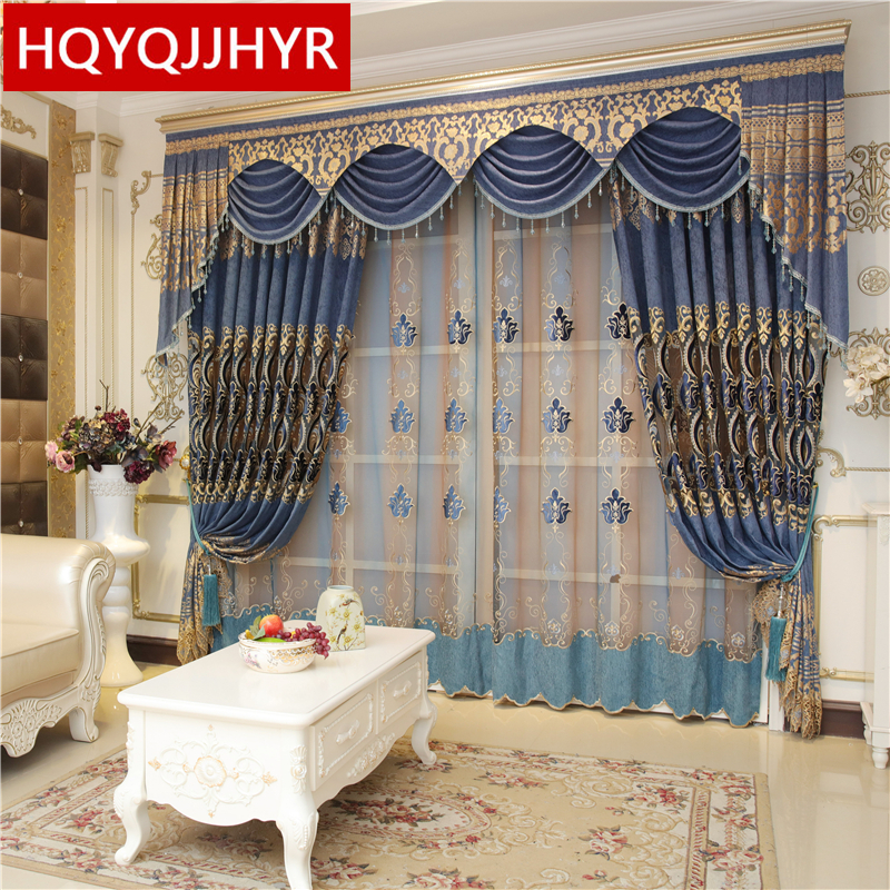 Blue luxury water-soluble embroidery European shade curtains for the living room royal classic high-end curtains for the bedroom
