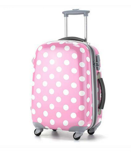 20 25 29 inch Polka Dot Disign Lovely ABS Travel Rolling Luggage Bag Valise Suitcase Trolley стоимость