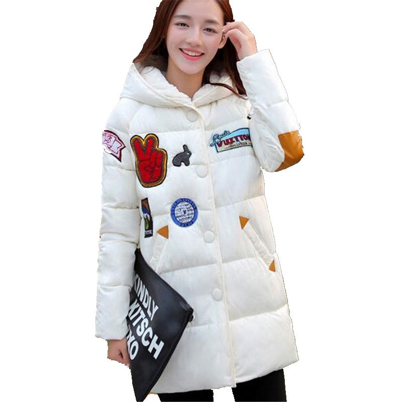 Winter Women Down jacket Hooded Thick Warm Cotton Coat Large size New Style Casual Jacket Slim Long sleeve Medium long Coat 2580 down cotton winter hooded jacket coat women clothing casual slim thick lady parkas cotton jacket large size warm jacket student