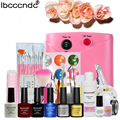 Nail Art Tools Set 36W UV Lamp & 4 Color 10ml Gel Polish Nail Base Top Coat 6 Colors Flower Gel Polish Remover Pad Manicure Kit