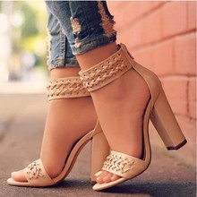 US $10.05 32% OFF|XingDeng Ankle Strap Ladies Party Dress Weaving Sexy Rivets Sandal Shoes Size 34 43 Women Square Heels High Heels Sandals Shoes-in Women's Sandals from Shoes on AliExpress - 11.11_Double 11_Singles' Day