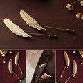 5Pcs Men Retro Golden Leaf Feather Brooch Pins Collar Suit Stick Breastpin Lapel Pin BYAK