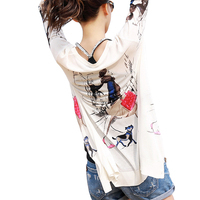 New Spring Autumn Drawing Print Lady Three Quarter Sleeve Cardigans Women V Neck Casual Knitted Outerwear