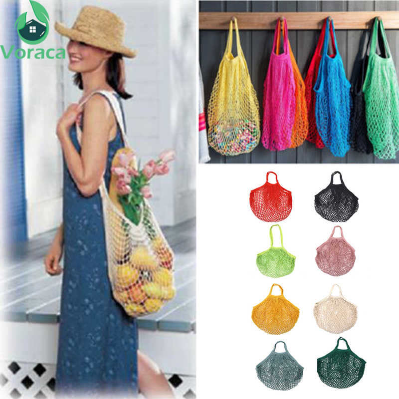 1Pc 50*35*0.5cm Multicolor Cotton Reusable Shoping Bag Grocery Produce Bags Mesh Ecology Market String Net Tote Bag Hanging Bag