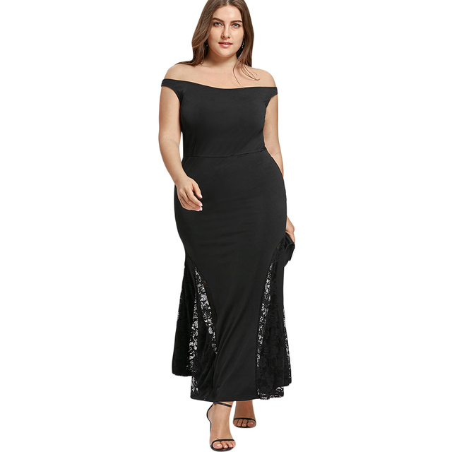 208e428df5b06 Women Plus Size Off Shoulder Mermaid Maxi Dress Black Sexy Lace Patchwork  Party Dress 2018 Robe Tunics Feminino Vestidos