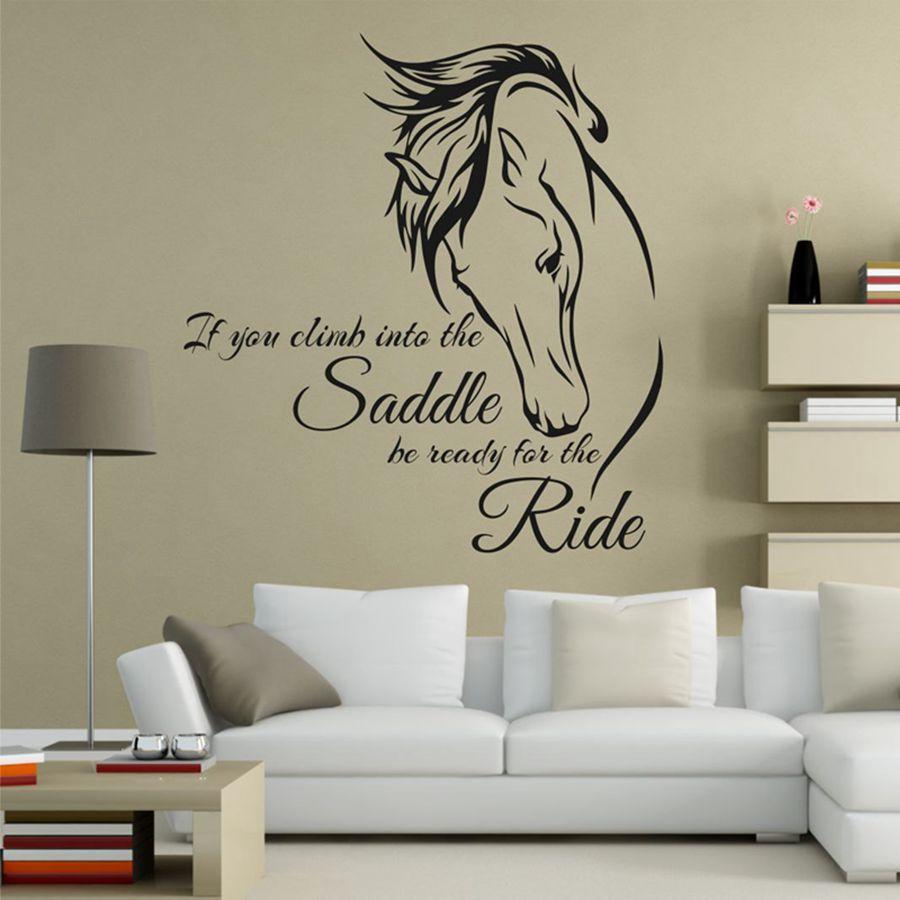 Calcomanía de pared para montar a caballo cita arte de vinilo si subes a la silla de montar estar listo para la etiqueta de la pared de la decoración del caballo