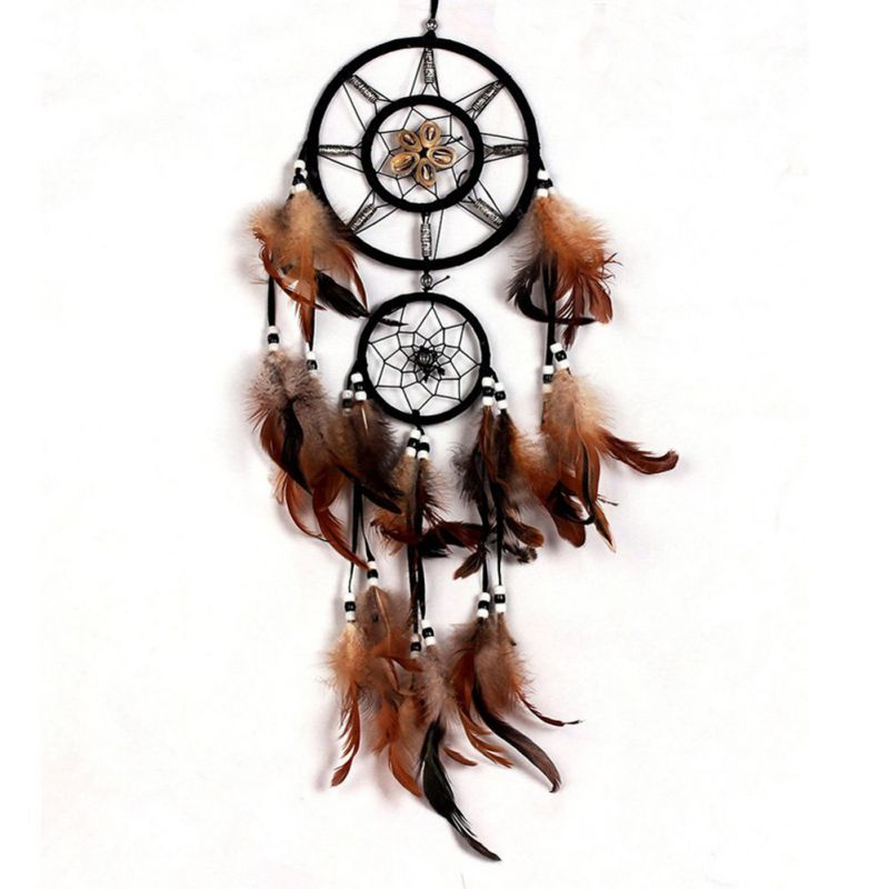 Native American History Poem Dream Catcher Wall Hanging with Beads Shells Feathers Art Weaving