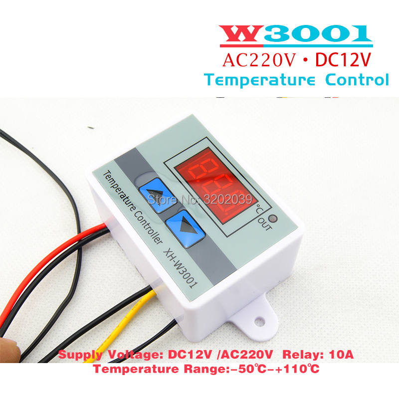 US $1 9 |10A 12V 24V 220VAC Digital LED Temperature Controller XH W3001 for  Arduino Cooling Heating Switch Thermostat NTC Sensor-in Temperature