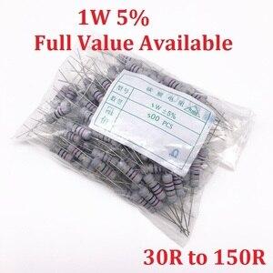 500 шт. 1 Вт оксид Carbom металлический пленочный резистор 30R/33R/36R/39R/43R/47R/51R/56R/62R/68R/75R/82R/91R/100R/120R/150R /Ом 5%