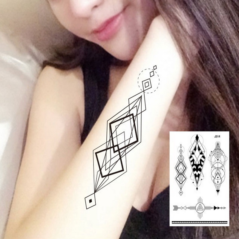 1sheet Multi-styles Arm Sleeve back Temporary Tattoo Sticker sexy girls geometry diamond Round triangle Black tatuagem 24model kvety tetovanie