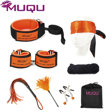 New High quality waterproof material orange 7 PCS BDSM bondage set strong metal restraints adult sex toys for couples