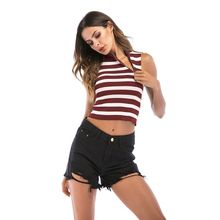 Women Summer Sleeveless Turtleneck Ribbed Knitted Cropped Tank Top Color Block Cross Stripes Printed Vest Camisole Irregular Zip недорого