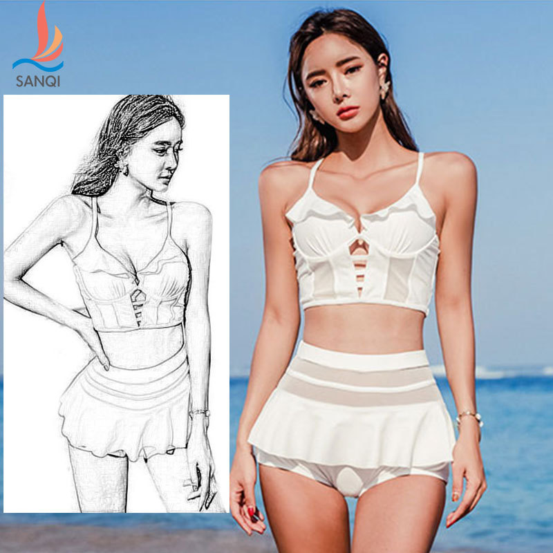 Two Piece Swimsuit For Women Women's Summer Clothes Tankini Rush Guard Womens Surf Suit Three Split Skirt Covering Push Up Solid