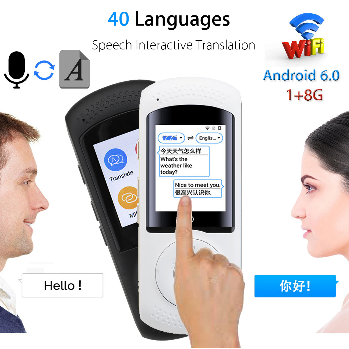 KINCO Voice Translator Support 40 Languages Intelligent AI Wifi Instant Translator LCD Screen 1+ 8G WiFi Support for Business