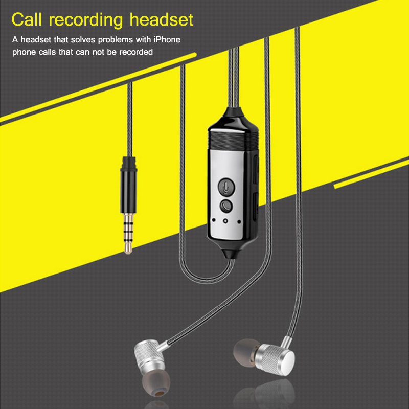 Portable Calling Recording In Ear Headset with MIC Business Meeting Phone Call Recording History Protection Earphone for iPhone 2 receivers 60 buzzers wireless restaurant buzzer caller table call calling button waiter pager system