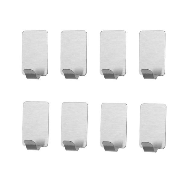 8pcs self sticker adhesive stainless steel hook wall door clothes