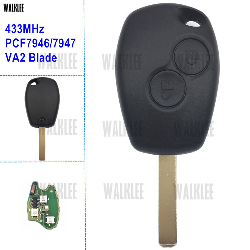WALKLEE Car Auto Remote Key for Renault Clio Scenic Kangoo Megane with PCF7946 or PCF7947 Chip 433Mhz