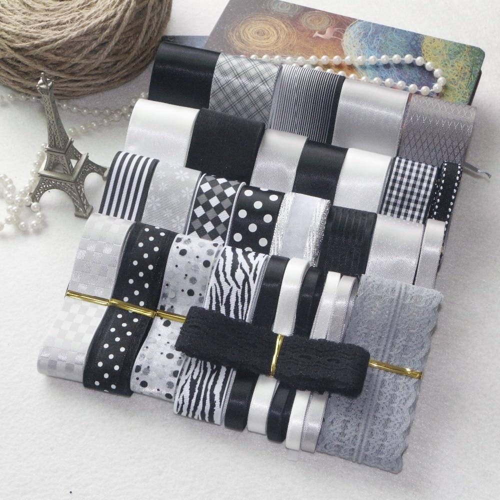 НОВИЙ СТИЛЬ! Набір стрічок DIY --- Набір кольорових стрічок чорного сірого та білого кольору (всього 37 ярдів)