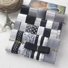 NEW STYLE! DIY Ribbon Set---Black Gray And White Color Mix Ribbon Set ( total 37 yards)