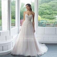 Милое Тюлевое свадебное платье с рюшами и лифом, с аппликацией, длина до пола, свадебные платья принцессы, Vestido De Noiva