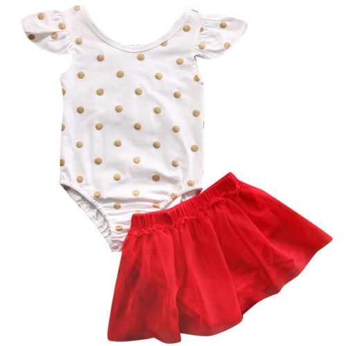 Girs Clothes Set Cute Toddler Gold Dots Child Rompers Ruffles Mesh Skirt 2PCS Outfits Short Sleeves Clotning Set