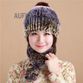 Lovely Women's Real Rex Rabbit Fur Beanie with 2 Fur Tails as Scarf Winter Hat Genuine Fox Fur Ball Decorated Neckwarmer AU00641