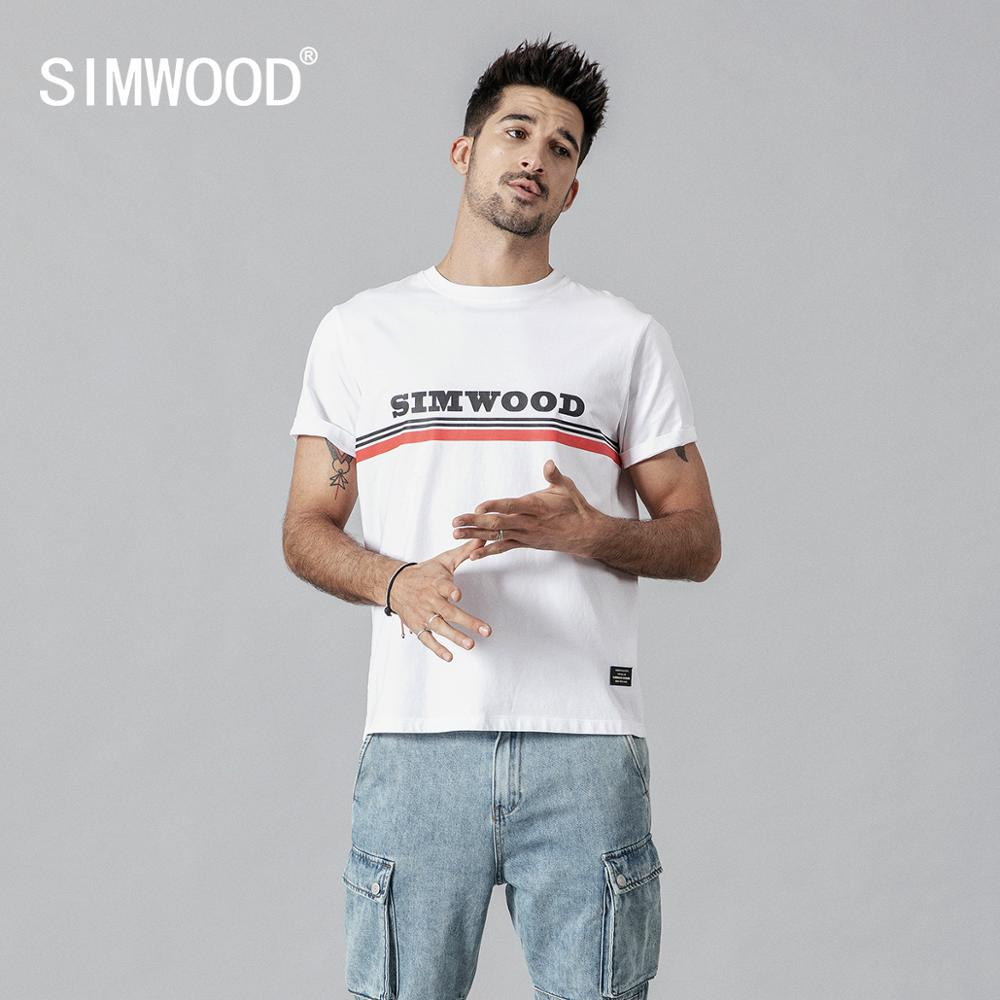 SIMWOOD 2020 Summer New 100% Cotton Fashion T-Shirt Men Print Fashion High Quality Tops Brand Clothing Tees 190131
