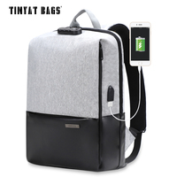 TINYAT Mens Laptop Backpack For 15 6inch USB Charging Male Anti Theft Backpacks Gray Canvas Leather