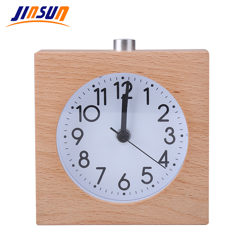 JINSUN Alarm Clock Square 100% Wood No Ticking Snooze Backlight Digital Clock Table Clocks Wooden Table Clock