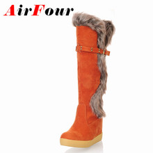 Airfour  Big size US 4-7.5 4Colors Free shipping New lovely Style Suede Strap Knee high Fashion boots Flat women's Casual shoes