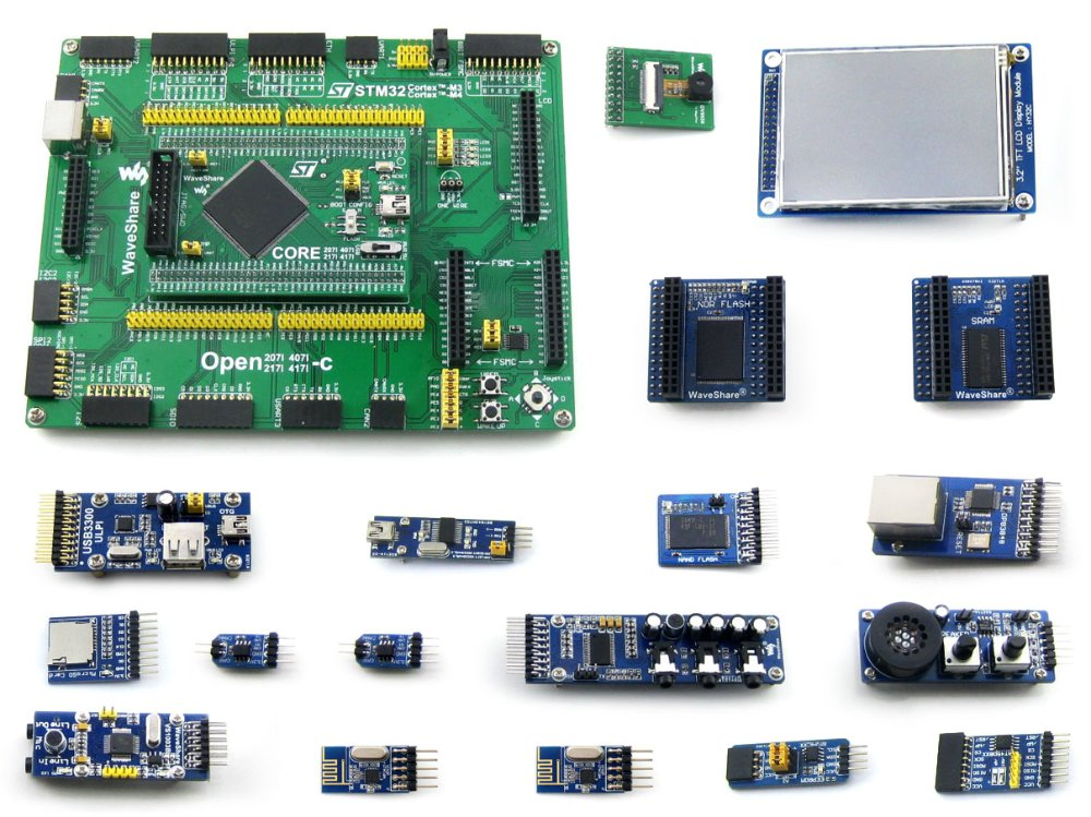 Waveshare Open407I-C Package B STM32F407IGT6 STM32 ARM Cortex-M4 Development Board with 16pcs Different Functional Modules black plastic ads iar stm32 jtag interface jlink v8 debugger arm arm7 emulator cortex m4 m0