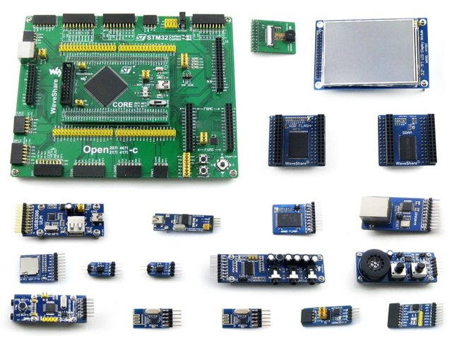 Waveshare Open407I-C Package B STM32F407IGT6 STM32 ARM Cortex-M4 Development Board with 16pcs Different Functional Modules