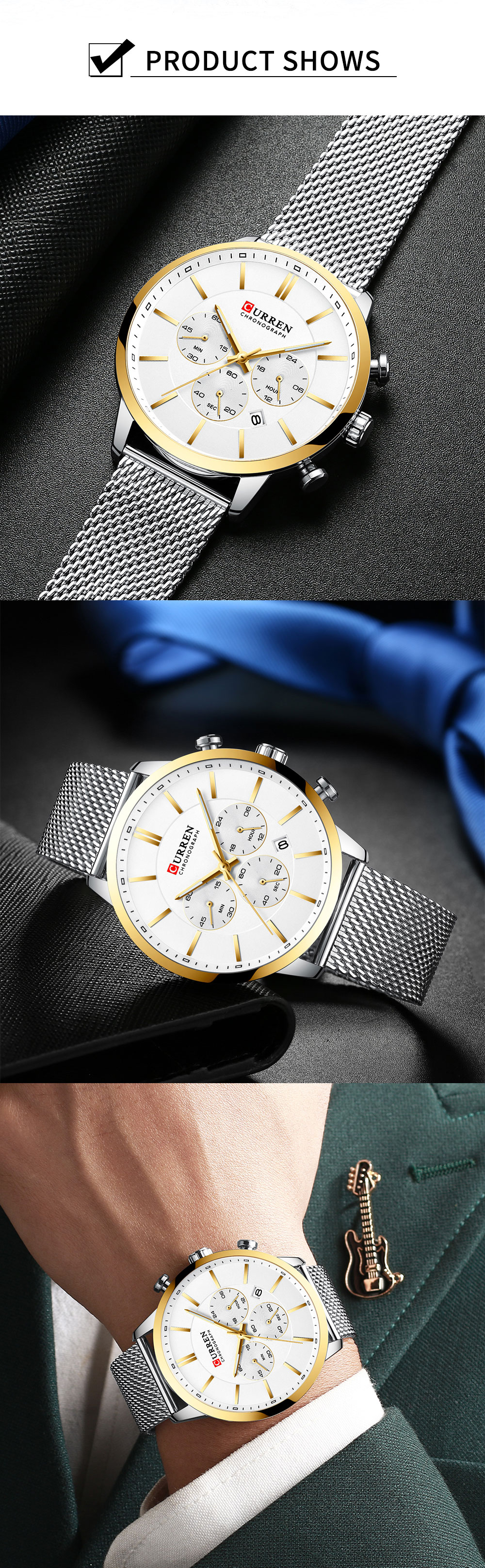 CURREN Watch Men Fashion Business Watches Men's Casual Waterproof Quartz Wristwatch Blue Steel Clock Relogio Masculino