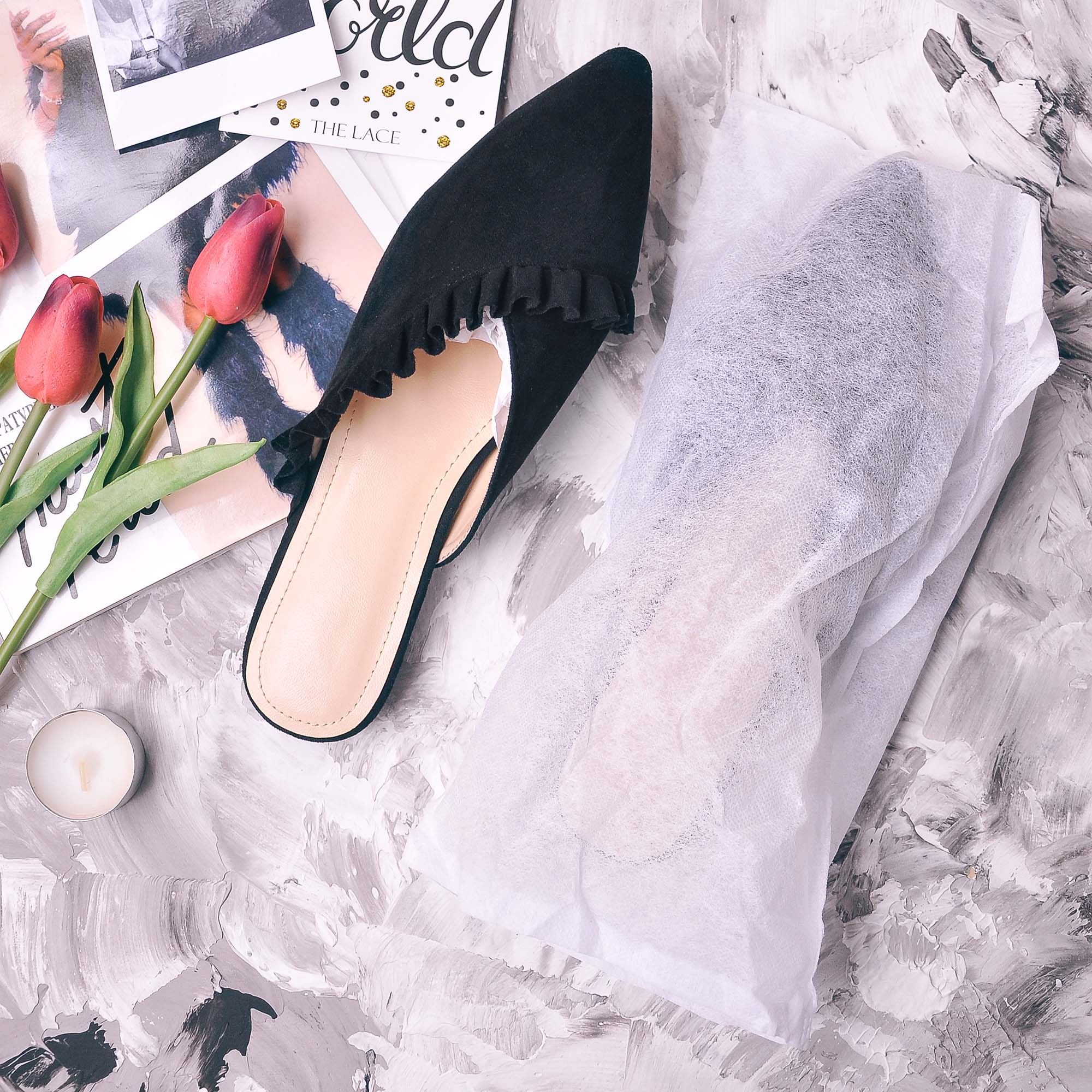 2019 New Spring Summer Women Slippers Shoes Woman Mules Shoes Pointed Toe Half Slippers Outside Slides Flip Flops Size 36 41 in Slippers from Shoes