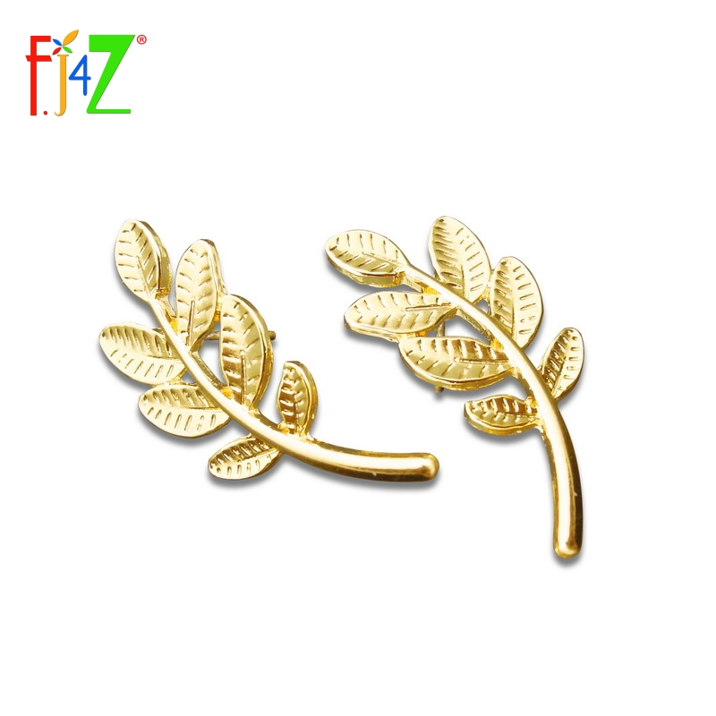 2015 new fashion golden silver leaf ear stud earrings for woman wholesale jewelry