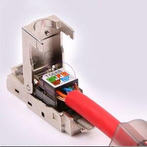 Image 5 - 2 pcs CAT6A RJ45 Connector Dropshipping ขายส่งโลหะ Splitter 10 Gbps ป้องกัน Field Connection Modular สำหรับเครือข่าย Ethernet