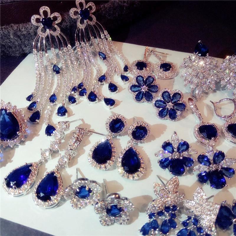 S925 Sterling Silver Drop Earrings For Women Sapphire Eardrop Fine Jewelry Bride Wedding Luxury Vintage Bijouterie Anting Wanita