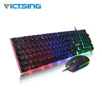 VicTsing XR450 PC Gamer Keyboard Mouse Kit Backlit Gaming Keyboard 104 Keys And 1600DPI Mouse Gaiming Set For PC Laptop Computer