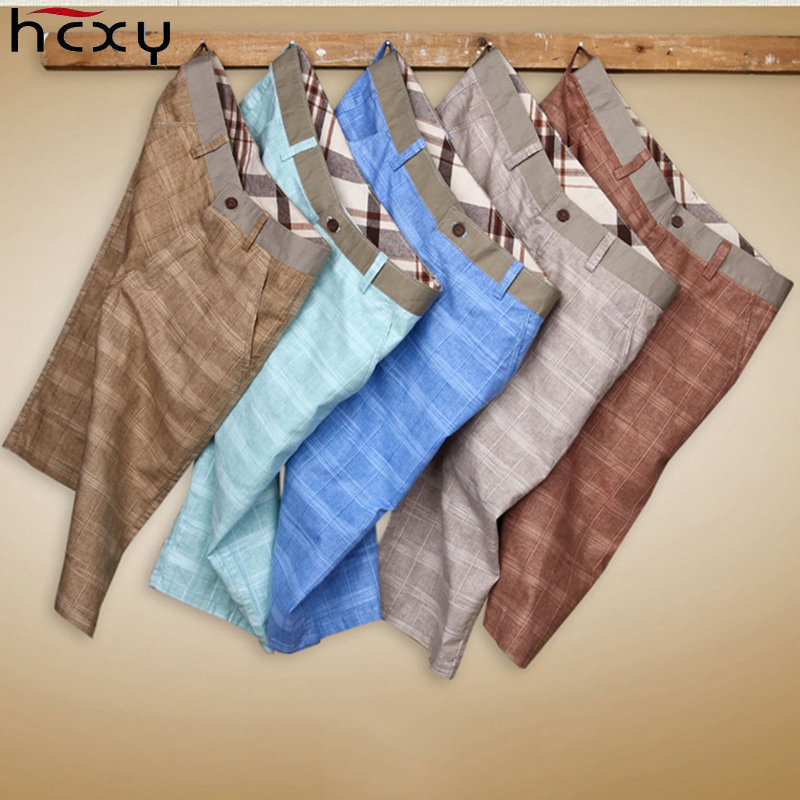 HCXY 2019 Summer Men's Linen Shorts Men Plaid Casual Shorts MaleThin Cool Breathable Cotton Knee Length Beach Shorts