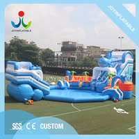 Playground Inflatable Movable Amusement Water Park With Slide For Children and Adult