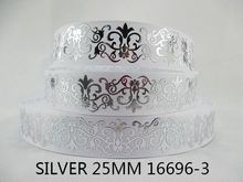 10Y16696 kerryribbon David accessories 1 »серебро печатных Grosgrain ленты для головы подарочная упаковка Вышивание поставки