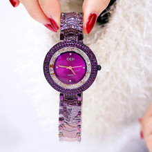 2019 Fashion Color Shell Ladies Quartz Watch Trend Steel Belt Wild Multicolor Rhinestone Fashion&Casual Chronograph