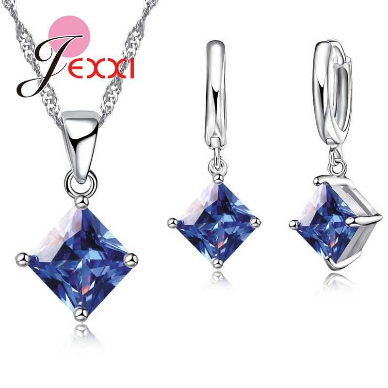 JEXXI High Quality Geometric Square Statement Necklace Collar S90 Silver Color Drop Earrings for Women Brincos