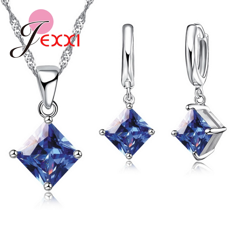 Jexxi High Quality Geometric Square Statement Necklace Collar 925 Sterling Silver Drop Earrings For Women Brincos