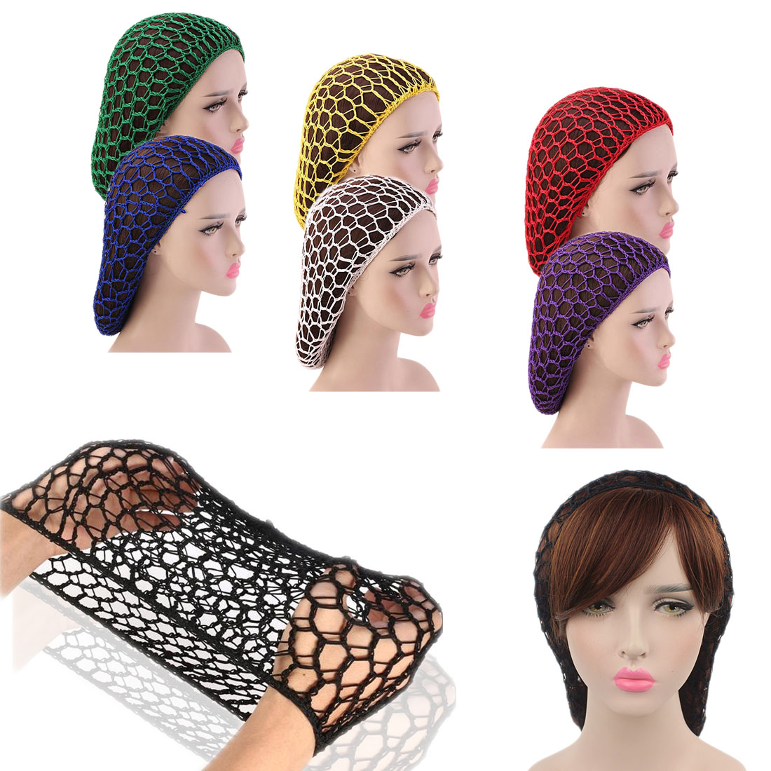Woman Hair Net Bands Soft Elastic Lines Snood Cover Rayon Net Hair Net Hair Accessories  Sleeping Crochet Hairnet
