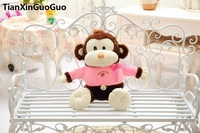 Stuffed Toy Large 65cm Cartoon Brown Monkey Plush Toy With Pink Cloth Soft Throw Pillow Birthday