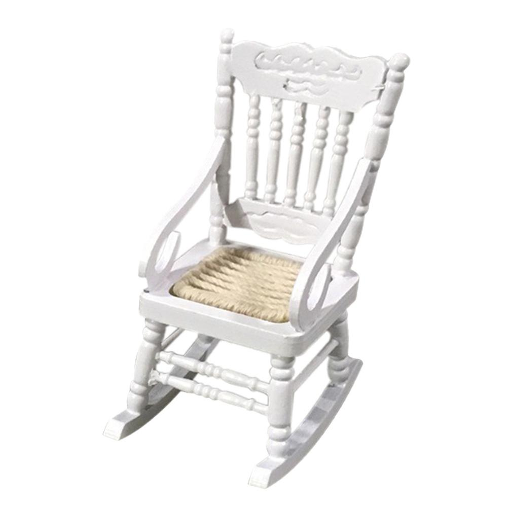 1:12 Dollhouse Miniature Furniture Wooden Rocking Chair for Doll House Decor #3