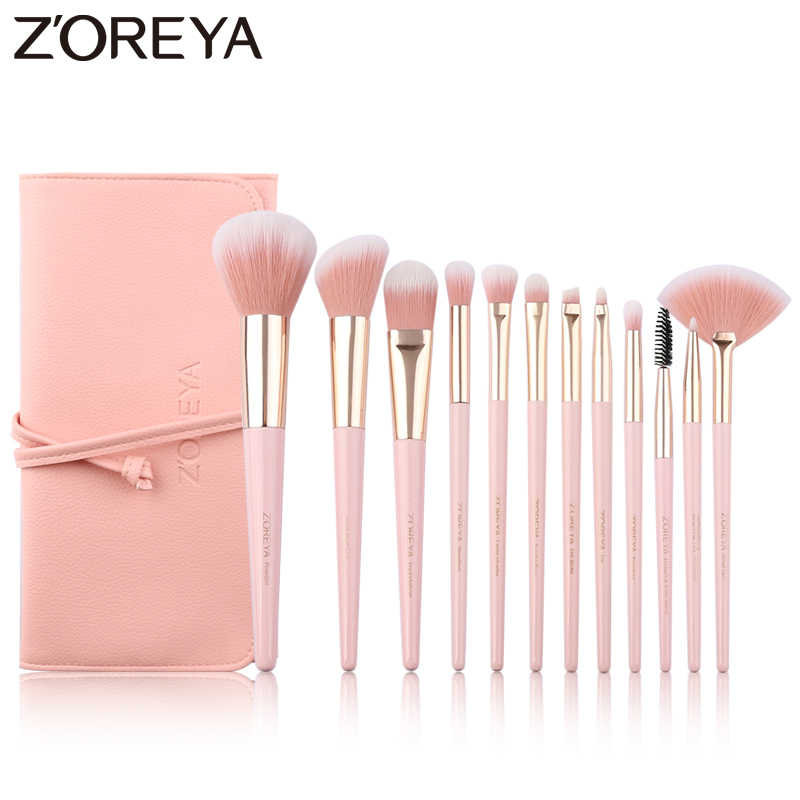 ZOREYA 12pcs Professional Makeup Brushes Super Soft Synthetic Hair Pink Handle Make Up Brush Blending Concealer Lip Beauty Tools