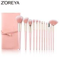 ZOREYA 12 шт. Профессиональные кисти для макияжа супер мягкие синтетические волосы розовая ручка макияж кисть для смешивания консилер, для губ ...